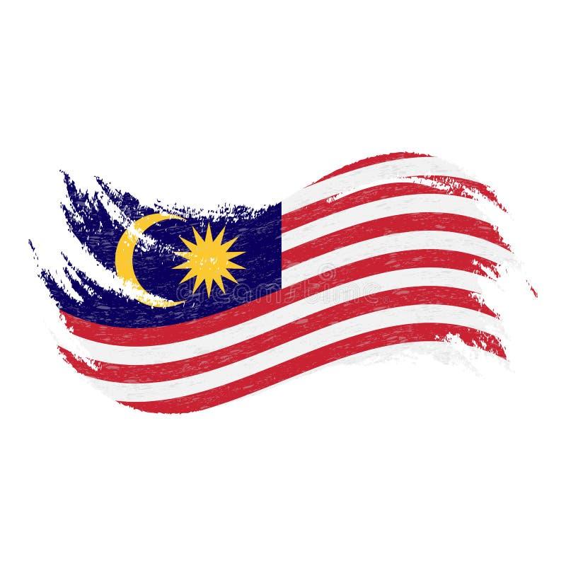 Bandera nacional de Malasia, diseñada usando los movimientos del cepillo, aislados en un fondo blanco Ilustración del vector ilustración del vector
