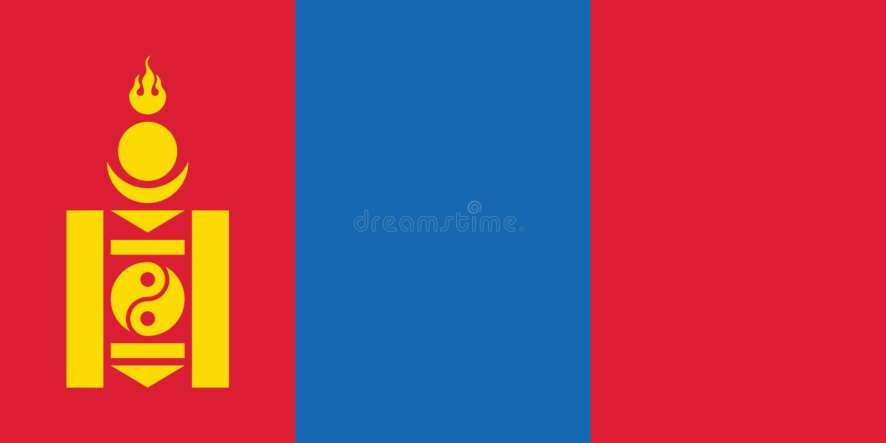 Bandera nacional de Mongolia, colores oficiales y proporción correctamente Bandera nacional de Mongolia Ilustraci?n del vector EP ilustración del vector