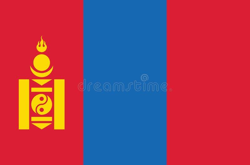 Bandera nacional de Mongolia, colores oficiales y proporción correctamente Bandera nacional de Mongolia Ilustraci?n del vector EP libre illustration