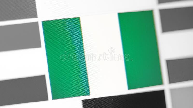Bandera nacional de Nigeria del país Bandera de Nigeria en la exhibición, un efecto de moaré digital fotos de archivo