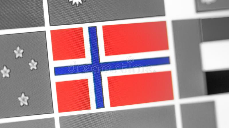 Bandera nacional de Noruega del país Bandera de Noruega en la exhibición, un efecto de moaré digital imagen de archivo libre de regalías
