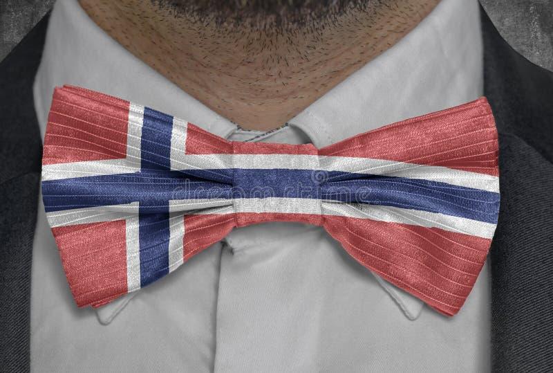Bandera nacional de Noruega en el traje del hombre de negocios del bowtie fotos de archivo libres de regalías
