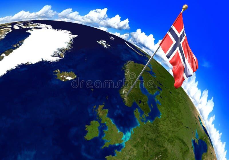 Bandera nacional de Noruega que marca la ubicación del país en mapa del mundo libre illustration
