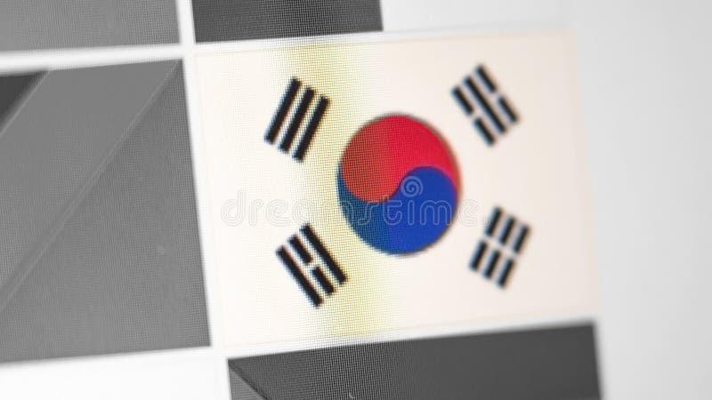 Bandera nacional de República de Corea del país bandera en la exhibición, un efecto de moaré digital foto de archivo