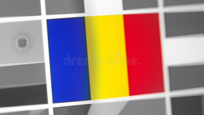 Bandera nacional de Rumania del país Bandera de Rumania en la exhibición, un efecto de moaré digital foto de archivo