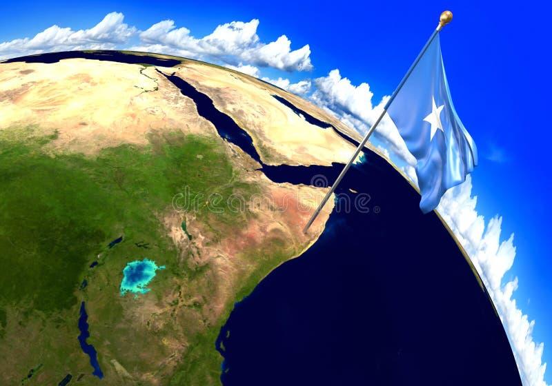 Bandera nacional de Somalia que marca la ubicación del país en mapa del mundo libre illustration