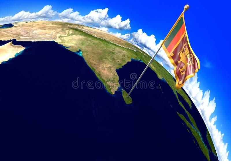 Bandera nacional de Sri Lanka que marca la ubicación del país en mapa del mundo ilustración del vector