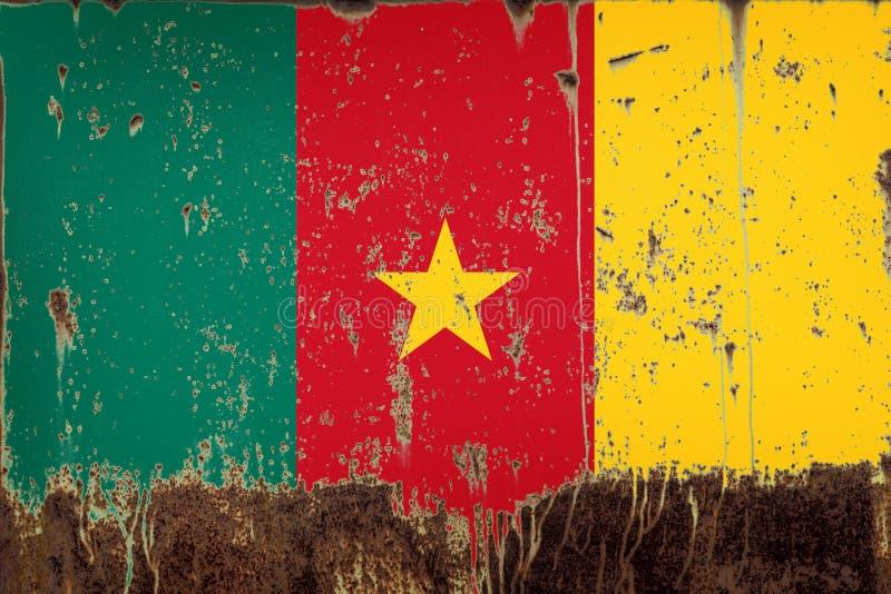 Bandera nacional del Camerún en textura del metal foto de archivo libre de regalías