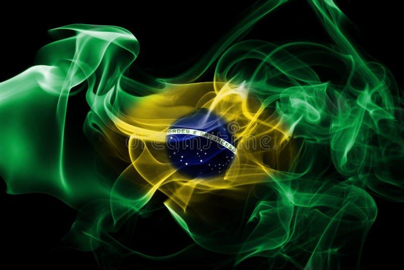 Bandera nacional del humo del Brasil imagen de archivo