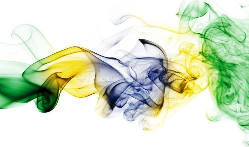 Bandera nacional del humo del Brasil en el fondo blanco ilustración del vector