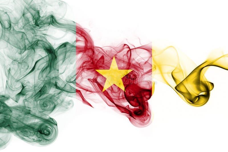 Bandera nacional del humo del Camerún aislada en un fondo blanco imagen de archivo libre de regalías