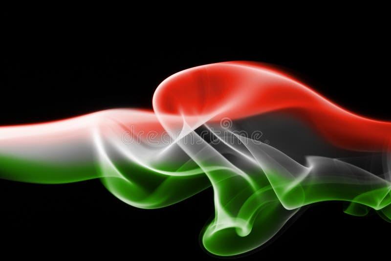 Bandera nacional del humo de Hungría fotografía de archivo