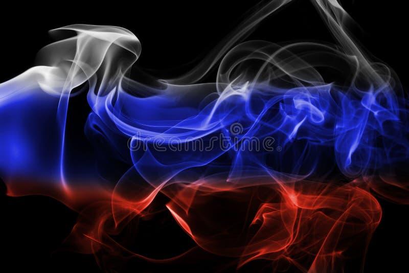 Bandera nacional del humo de Rusia fotografía de archivo