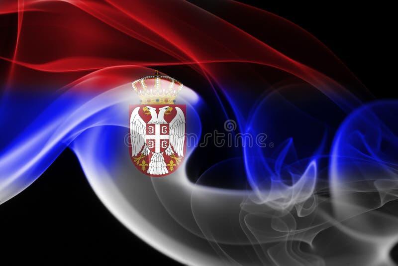 Bandera nacional del humo de Serbia imagen de archivo libre de regalías