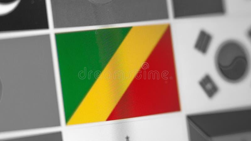 Bandera nacional del República del Congo del país Bandera del República del Congo en la exhibición, un efecto de moaré digital fotos de archivo