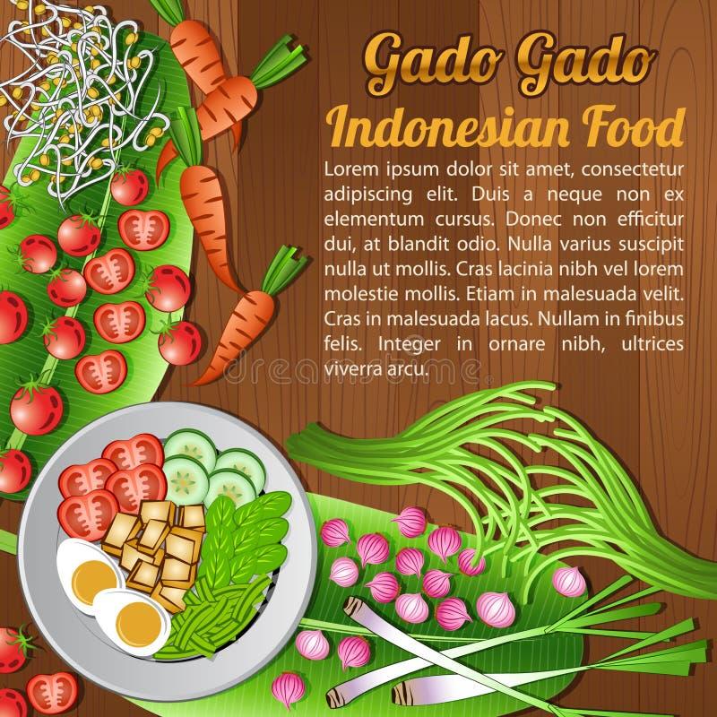 Bandera nacional del sistema de elementos de los ingredientes alimentarios de la ANSA en el fondo de madera, Indonesia ilustración del vector