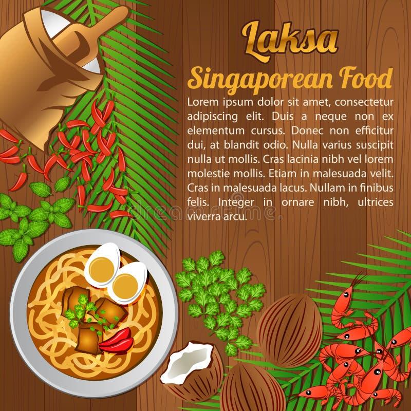 Bandera nacional del sistema de elementos de los ingredientes alimentarios de la ANSA en el fondo de madera, Singapur libre illustration