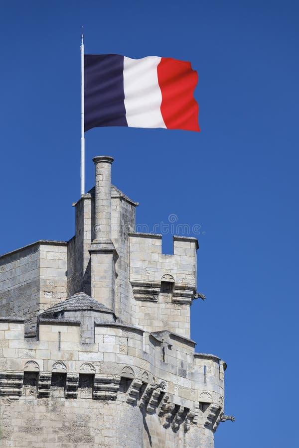 Bandera nacional francesa - La Rochelle - Francia fotos de archivo
