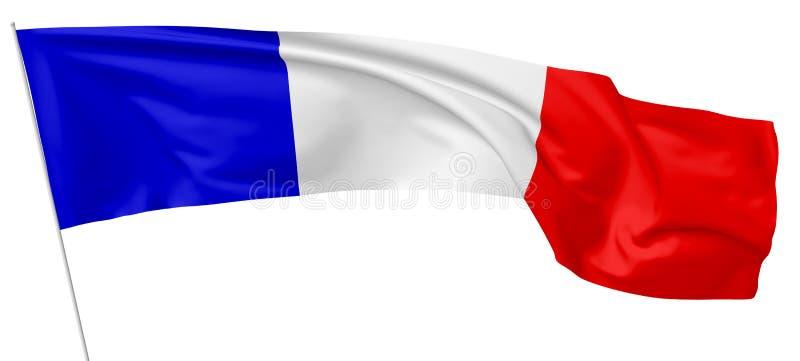 Bandera nacional larga de Francia con la asta de bandera ilustración del vector