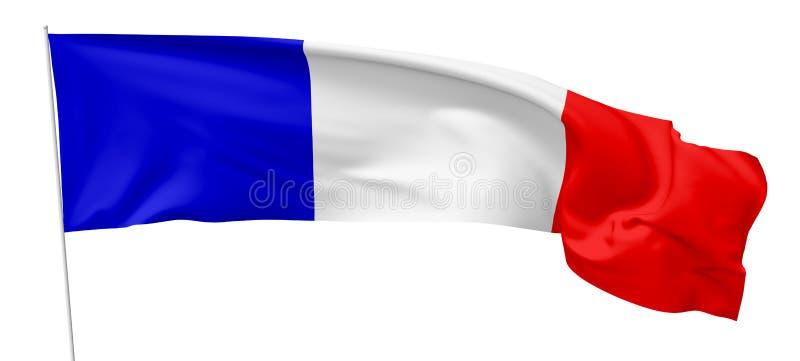 Bandera nacional larga de Francia con la asta de bandera libre illustration