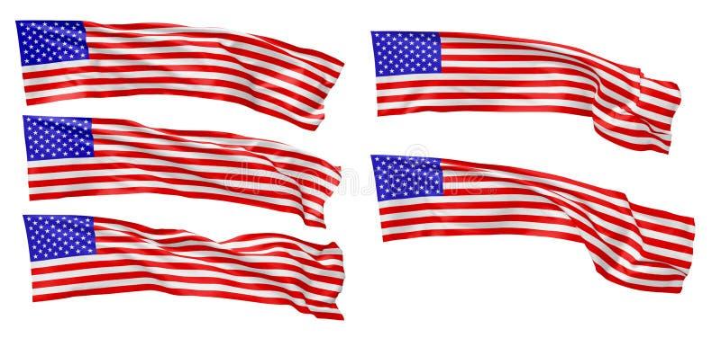 Bandera nacional larga del sistema de los Estados Unidos de América libre illustration