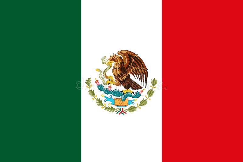 Bandera nacional mexicana con la representación de Eagle Coat Of Arms 3D imagenes de archivo
