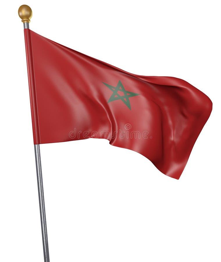 Bandera nacional para el país de Marruecos en el fondo blanco stock de ilustración