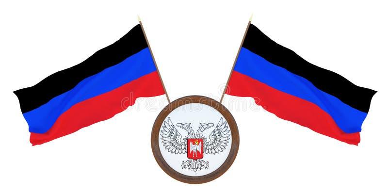 Bandera nacional y el ejemplo del escudo de armas 3D de la república popular de Donetsk Fondo para los redactores y los dise?ador imágenes de archivo libres de regalías