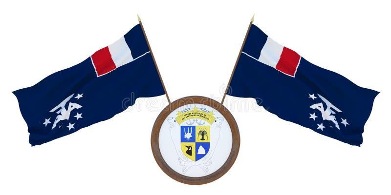 Bandera nacional y el ejemplo del escudo de armas 3D de las tierras antárticas del southernd francés Fondo para los redactores y  imagen de archivo