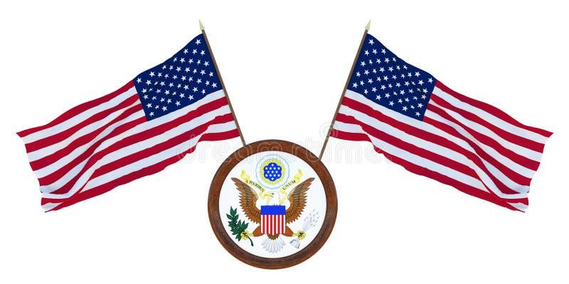 Bandera nacional y el ejemplo del escudo de armas 3D de los Estados Unidos de América EE.UU. Fondo para los redactores y los dise imagen de archivo libre de regalías