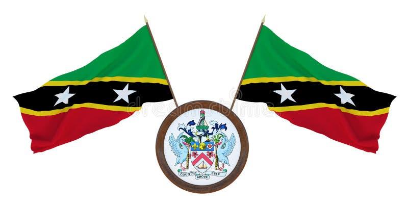 Bandera nacional y el ejemplo del escudo de armas 3D del santo San Cristobal y Nevis Fondo para los redactores y los dise?adores  imagen de archivo libre de regalías