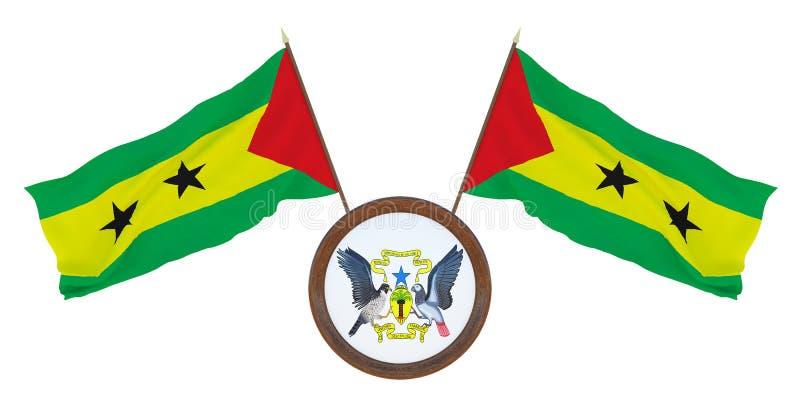Bandera nacional y el ejemplo del escudo de armas 3D de Sao Tome and Principe Fondo para los redactores y los dise?adores natural fotografía de archivo libre de regalías