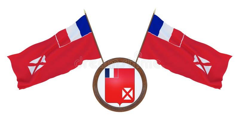 Bandera nacional y el ejemplo del escudo de armas 3D de Wallis y de Futuna Fondo para los redactores y los dise?adores naturaliza fotografía de archivo