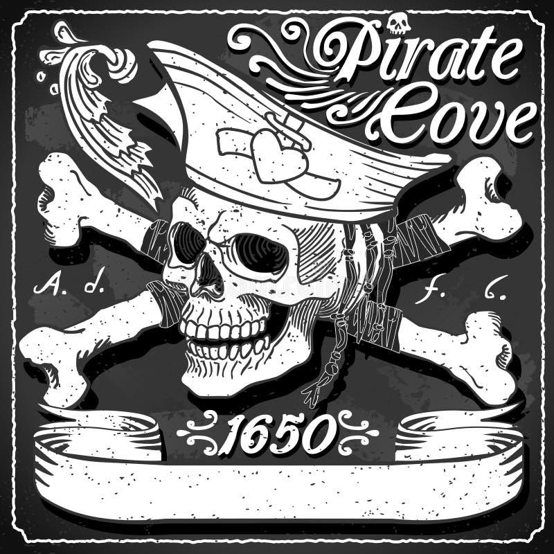 Bandera negra de la ensenada del pirata - Jolly Roger stock de ilustración