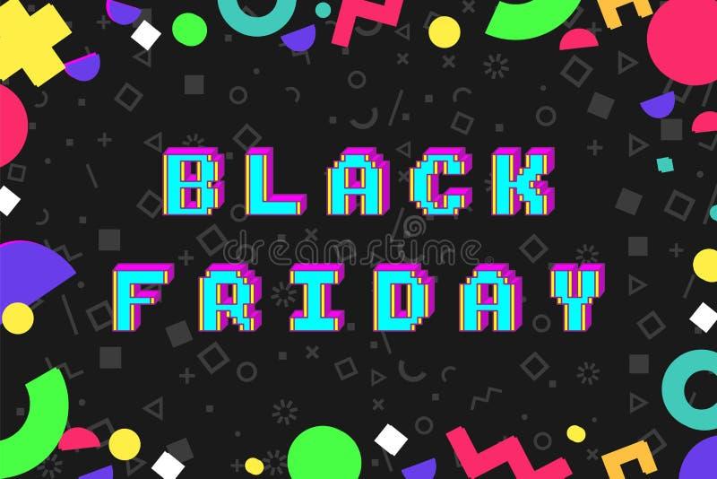 Bandera negra de la promoción del estilo del arte del pixel de viernes stock de ilustración