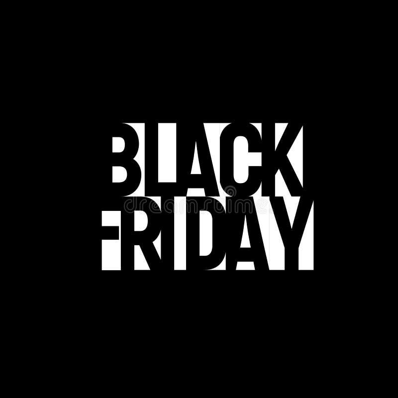 Bandera negra de la venta de viernes Diseño del cartel del descuento de la noche Letras geométricas de la etiqueta de la oferta T libre illustration