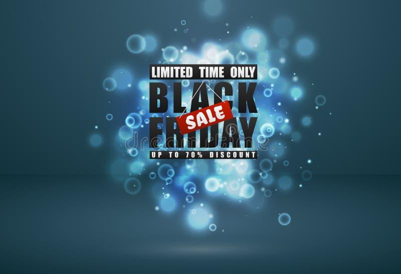 Bandera negra de la venta de viernes El texto negro con la etiqueta roja y el resplandor chispea efecto del bokeh sobre fondo del ilustración del vector