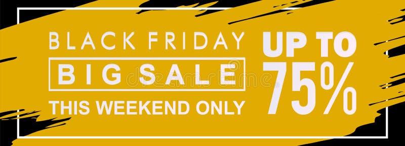 Bandera negra de la venta de viernes este fin de semana solamente con descuento en fondo amarillo y negro con el chapoteo y el ma stock de ilustración