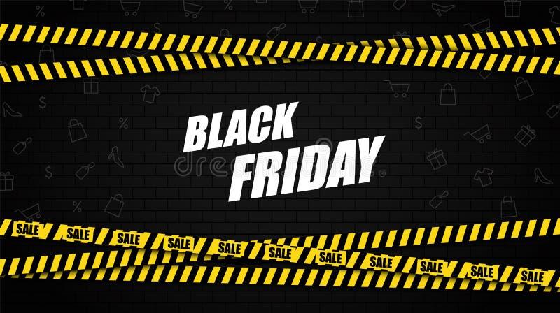 Bandera negra de la venta de viernes Pared de ladrillo y cinta amonestadora de la policía con el texto de la venta Venta Vector libre illustration