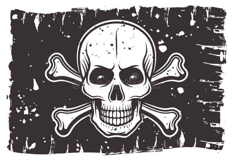 Bandera negra de los piratas con el cráneo y la bandera pirata ilustración del vector