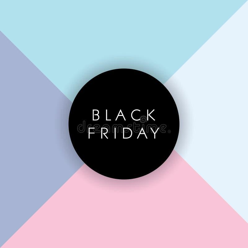 Bandera negra del vector de la venta de viernes con colores en colores pastel del diseño material moderno Ofertas especiales, des ilustración del vector