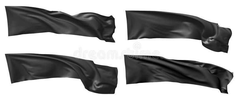 Bandera negra larga que agita en sistema del viento libre illustration