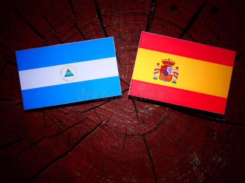 Bandera nicaragüense con la bandera española en un tocón de árbol imágenes de archivo libres de regalías