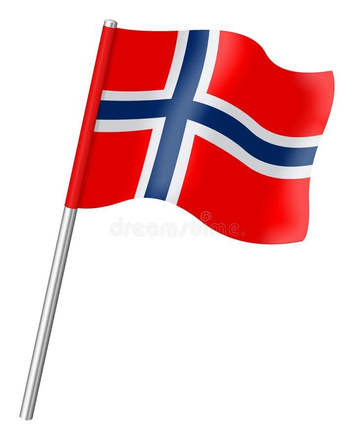 Bandera Noruega aislada en el fondo blanco stock de ilustración