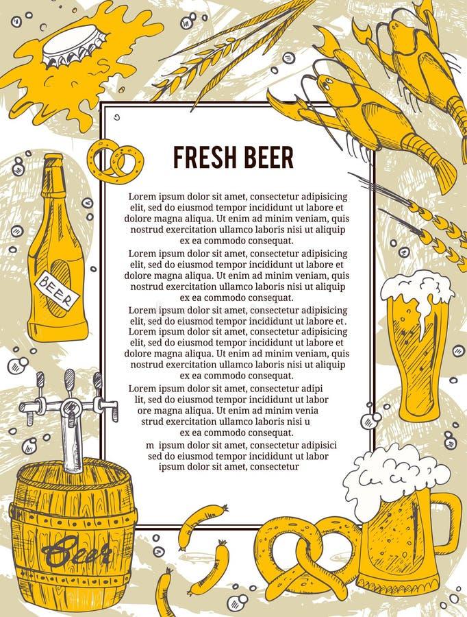 Bandera o aviador de la cerveza Bueno como plantilla de la invitación del anuncio Ilustración del vector stock de ilustración