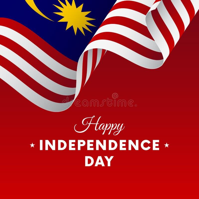 Bandera o cartel de la celebración del Día de la Independencia de Malasia Indicador Ilustración del vector stock de ilustración