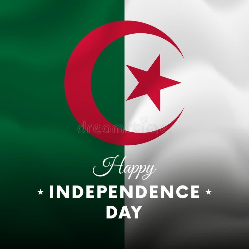 Bandera o cartel de la celebración del Día de la Independencia de Argelia Indicador que agita Ilustración del vector ilustración del vector