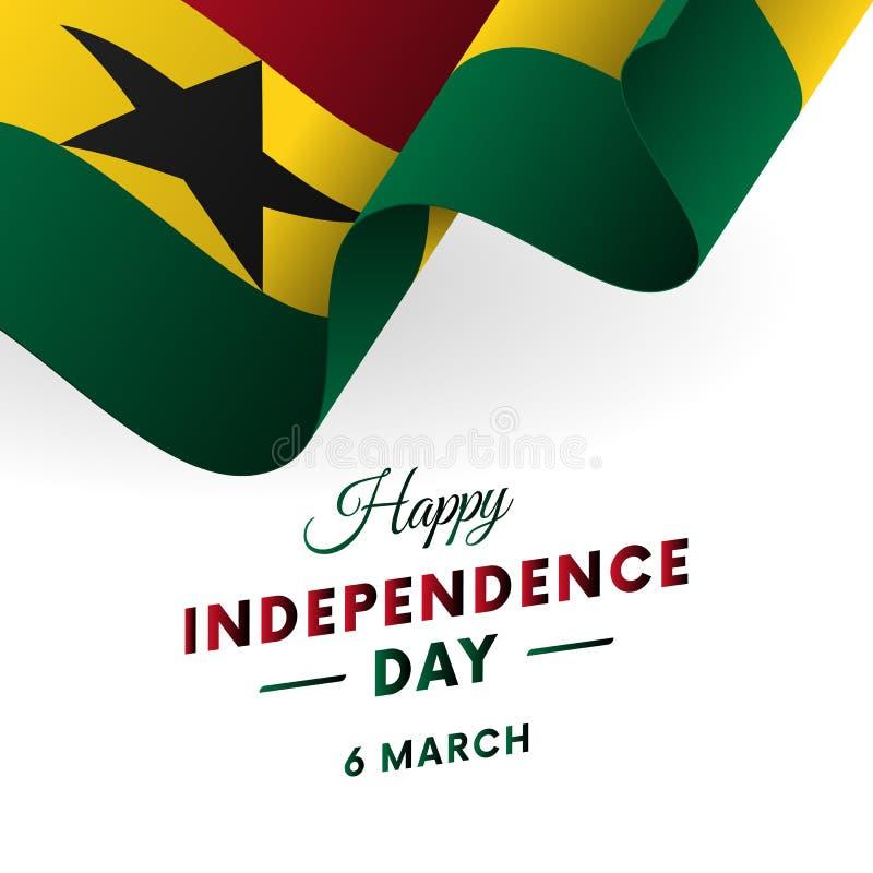Bandera o cartel de la celebración del Día de la Independencia de Ghana Indicador que agita Ilustración del vector ilustración del vector