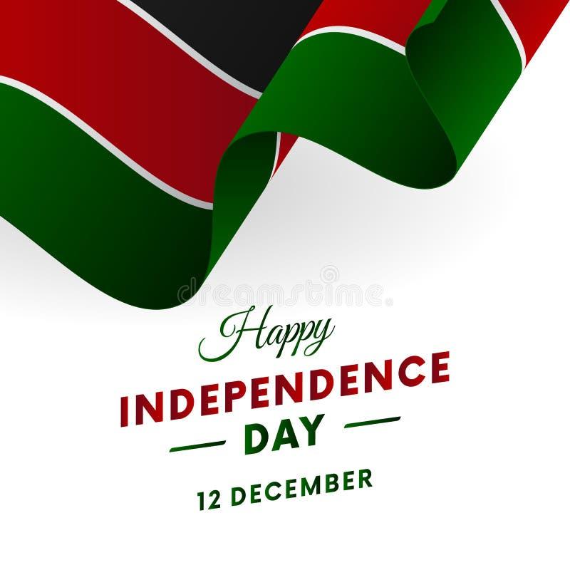 Bandera o cartel de la celebración del Día de la Independencia de Kenia Indicador que agita Ilustración del vector libre illustration