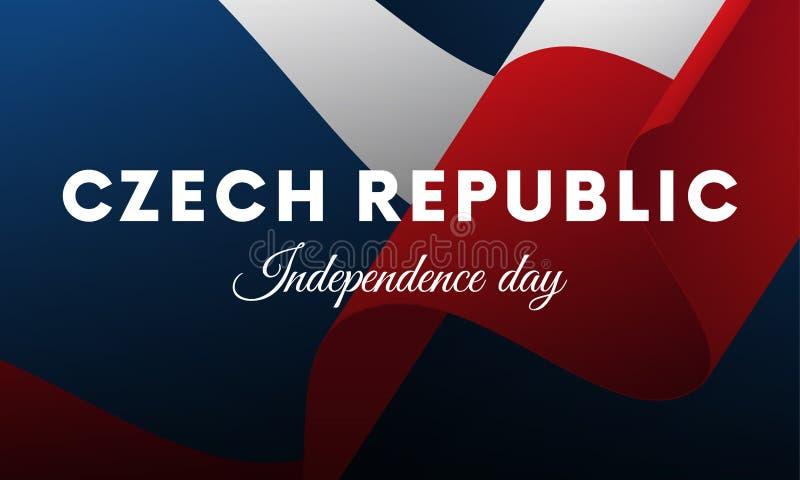 Bandera o cartel de la celebración del Día de la Independencia de la República Checa Indicador que agita Ilustración del vector libre illustration
